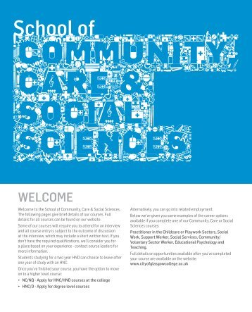 Community, Care and Social Sciences - City of Glasgow College