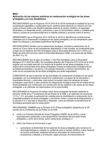 M051 Aplicación de las mejores prácticas en ... - IUCN Portals