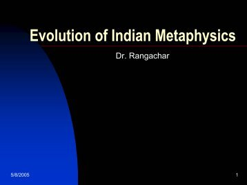 Evolution of Indian Metaphysics