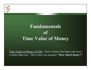 Fundamentals of Time Value of Money Fundamentals of Time Value ...