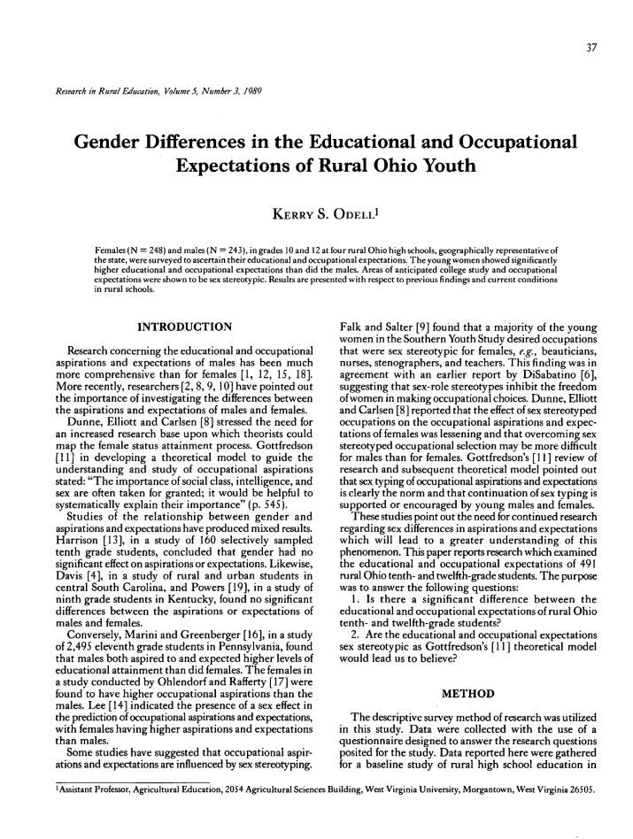 gender differences in the educational expectations