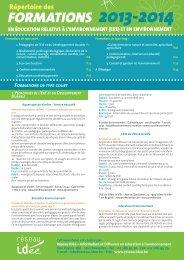 Répertoire des formations 2013-2014 - Réseau IDée