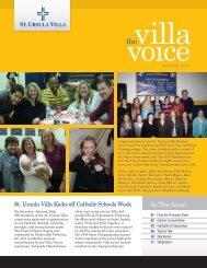 In This Issue - St. Ursula Villa