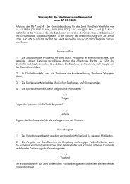 Satzung für die Stadtsparkasse Wuppertal - Stadt Wuppertal