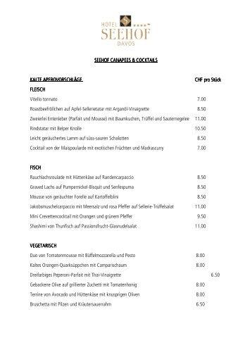 Cocktails und Canapées (PDF) - Hotel Seehof Davos