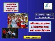 alimentazione e idratazione nel marciatore - Fidal Piemonte