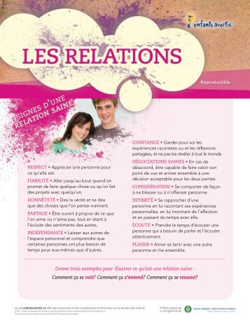 Les relations - PDF - Kids in the Know