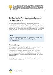 Språkscreening för att detektera barn med hörselnedsättning - SBU