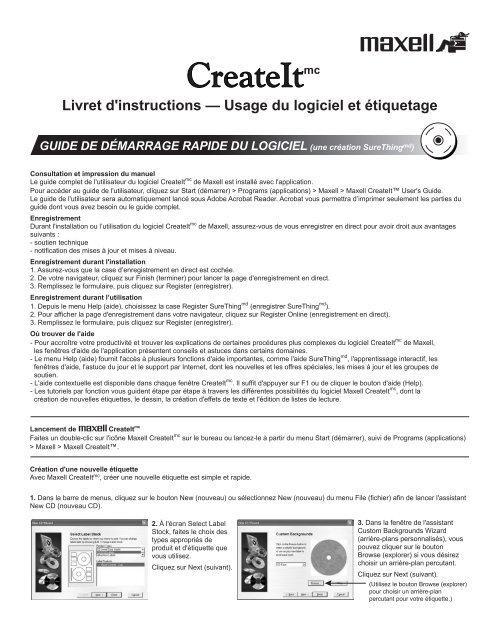 Livret D Instructions A Usage Du Logiciel Et Maxell Canada