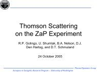 Thomson Scattering on the ZaP Experiment