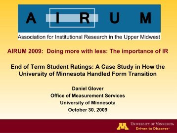 Glover, D. (2009). End of Term Student Ratings