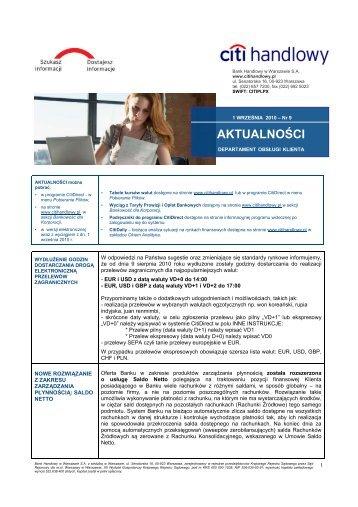 Wersja polska - Aktualności nr 9 (PDF, 195 KB) - Citibank Handlowy