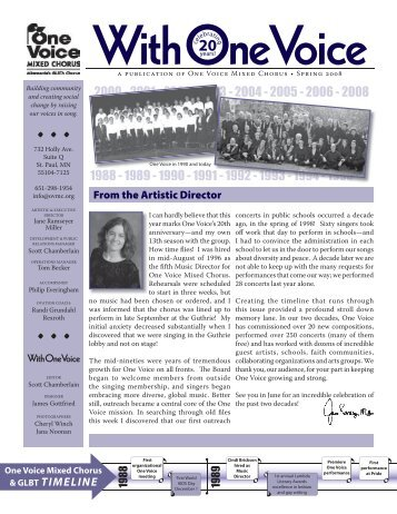 2008 Spring Newsletter - One Voice Mixed Chorus