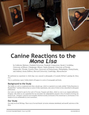 Canine Reactions to the Mona Lisa - Improbable Research