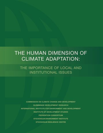 the human dimension of climate adaptation - Commission on ...