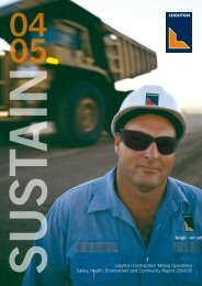 Leighton Contractors' Mining Operations Safety, Health ...