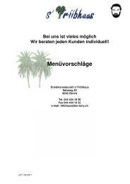 Menüvorschläge Triibhuus - Gate24.ch