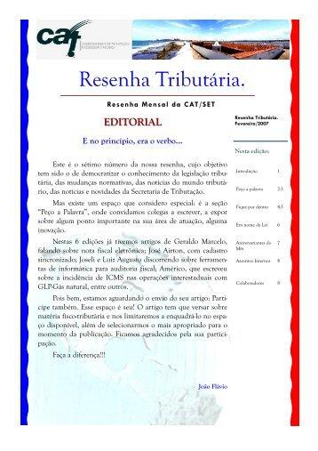 Fevereiro 2007 - Secretaria de Estado da Tributação