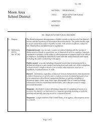 Policy #801 - Request for Public Records - Moon Area School District