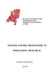 MASTER AND PhD PROGRAMME IN OPERATIONS ... - LNMB