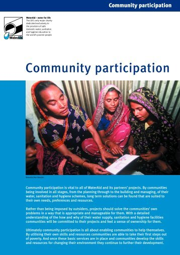 Community participation issue sheet - WaterAid