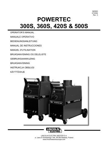 imt776 a lincoln electric powertec 300s 360s 420s 500s lincoln electric documentations