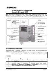 Eksploatavimo instrukcija Landis & Staefa RDE - Siemens