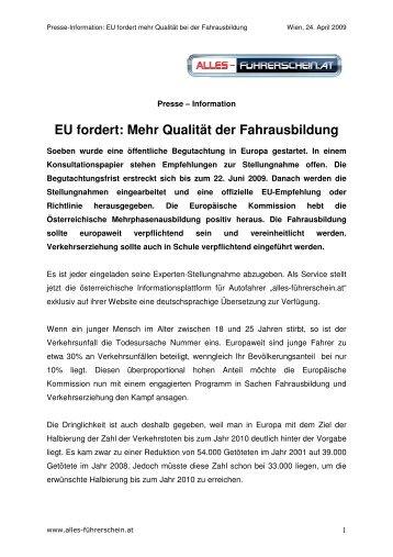 PRESSE-INFO EU fordert mehr Qualität der Fahrausbildung