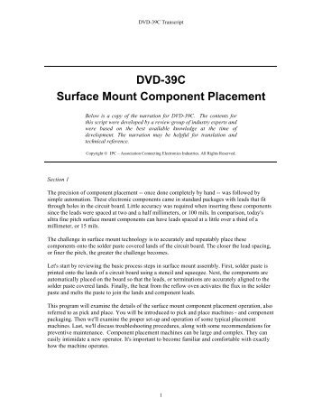 DVD-39C Surface Mount Component Placement - IPC Training ...