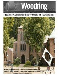 Teacher Education New Student Handbook - Woodring College of ...