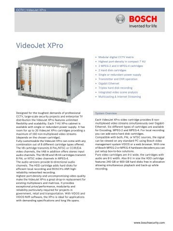 VideoJet XPro - Elvey Security Technology