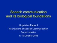 Speech communication? Foundations?