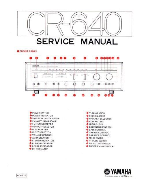 Yamaha Cr-640 Receiver Service Manual