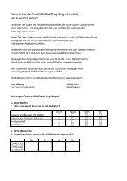 Fragebogen für die Stadtbibliothek - Burg Stargard