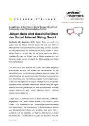 Jürgen Seitz wird Geschäftsführer der United Internet Dialog Gmbh