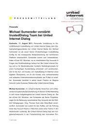 Michael Sumereder verstärkt trusteddialog Team bei United Internet ...