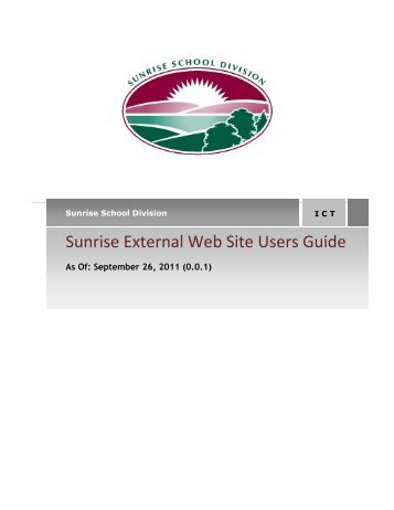 Sunrise External Web Site Users Guide - Sunrise School Division