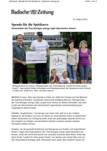 Spende für die Spielkarre - Breisgau Energy Night