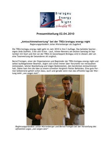 Pressemitteilung 02.04.2010 - Breisgau Energy Night