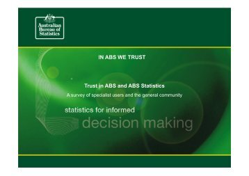 IN ABS WE TRUST Trust in ABS and ABS Statistics - National ...