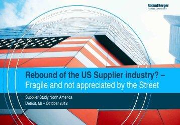 Rebound of US Supplier Industry - Roland Berger