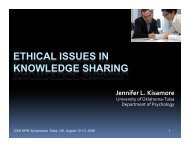 ETHICAL ISSUES IN KNOWLEDGE SHARING