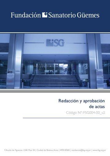 Redacción y aprobación de actas - Fundación Sanatorio Guemes