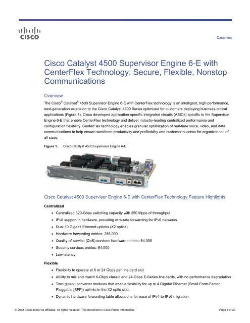 Cisco Catalyst 4500 Supervisor Engine 6-E with CenterFlex