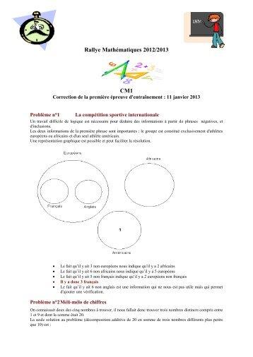 Rallye Mathématiques 2012/2013 CM1