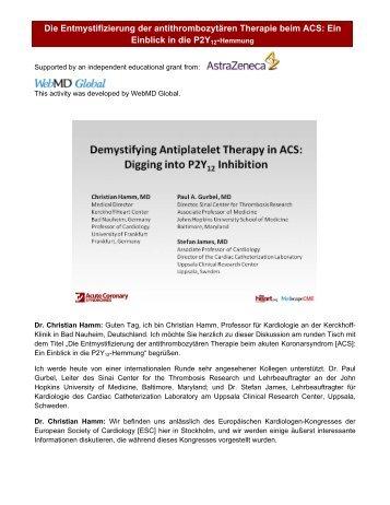 Die Entmystifizierung der antithrombozytären Therapie ... - Medscape