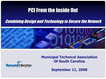 PCI From the Inside Out - Municipal Association of South Carolina