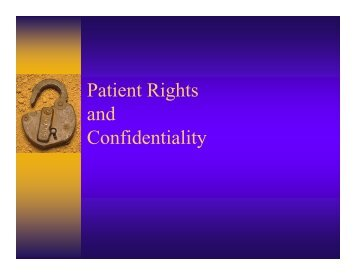 Patient Rights and Confidentiality - Healthcare Professionals