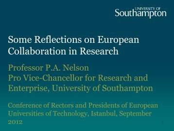 Some Reflections on European Collaboration in Research