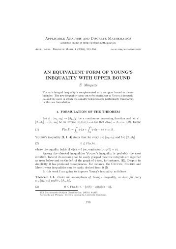 an equivalent form of young's inequality with upper bound - doiSerbia